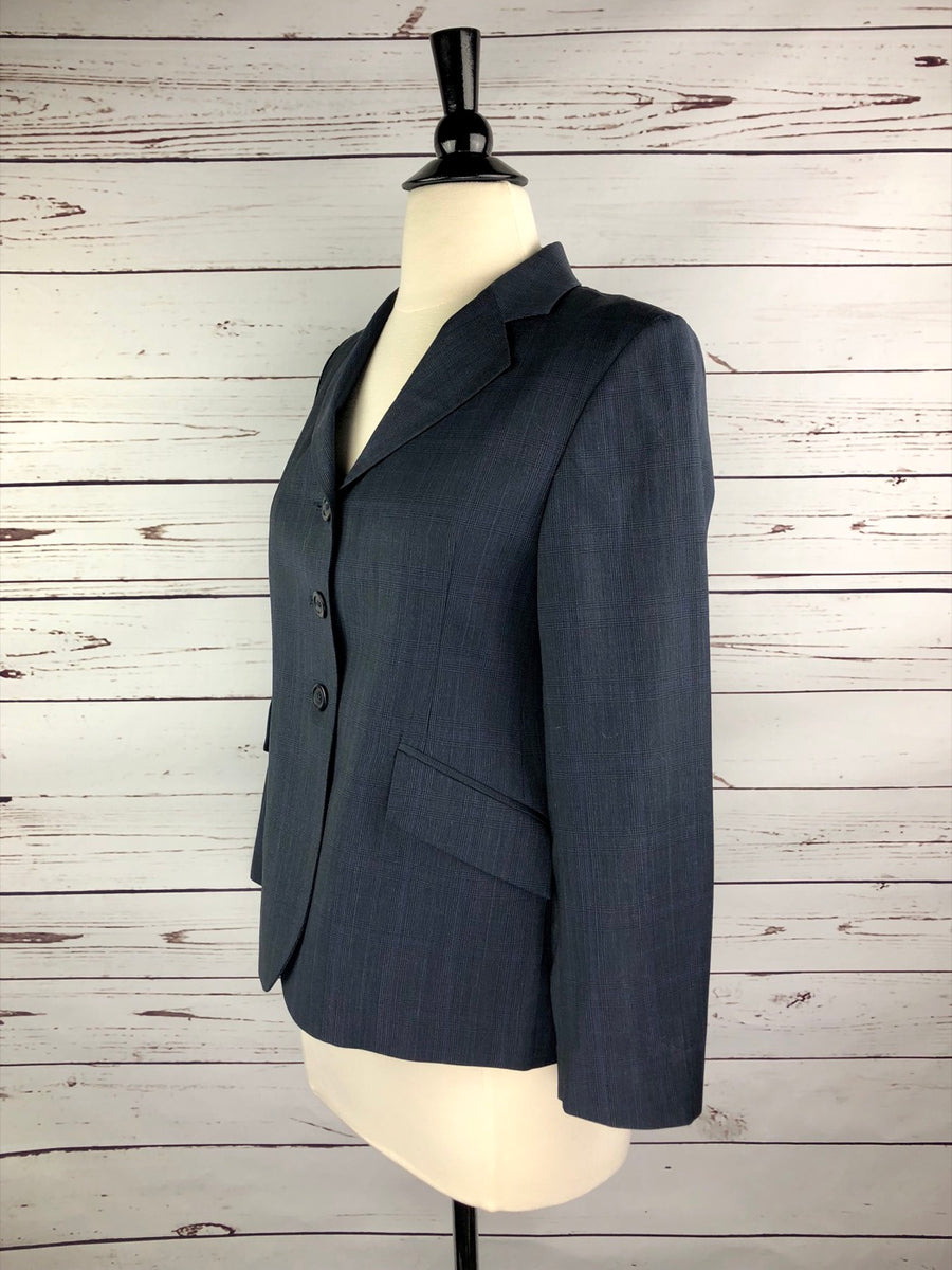 RJ Classics Prestige Collection Hunt Coat in Navy Plaid - Left Side View