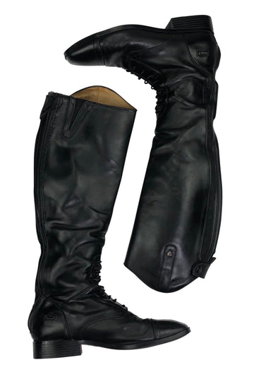 side view of Ariat Challenge Contour Square Toe Field Zip Tall Boots in Black