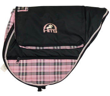left side view of Kensington English Saddle Carry Bag in Black/Pink Plaid