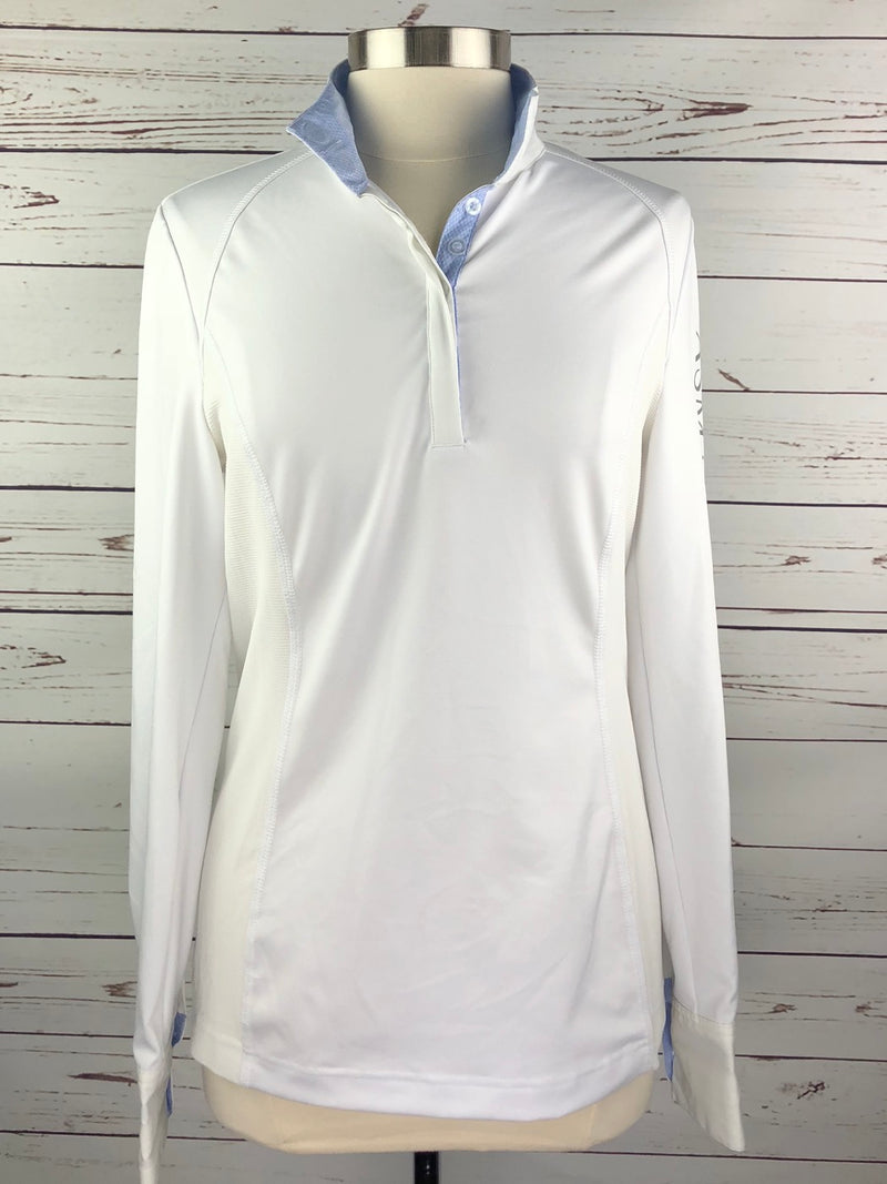 Asmar Equestrian Show Shirt in White/Blue - Women's Large