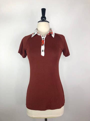 Street & Saddle Floral Perfect Polo in Chestnut/White Collar - Women's XS