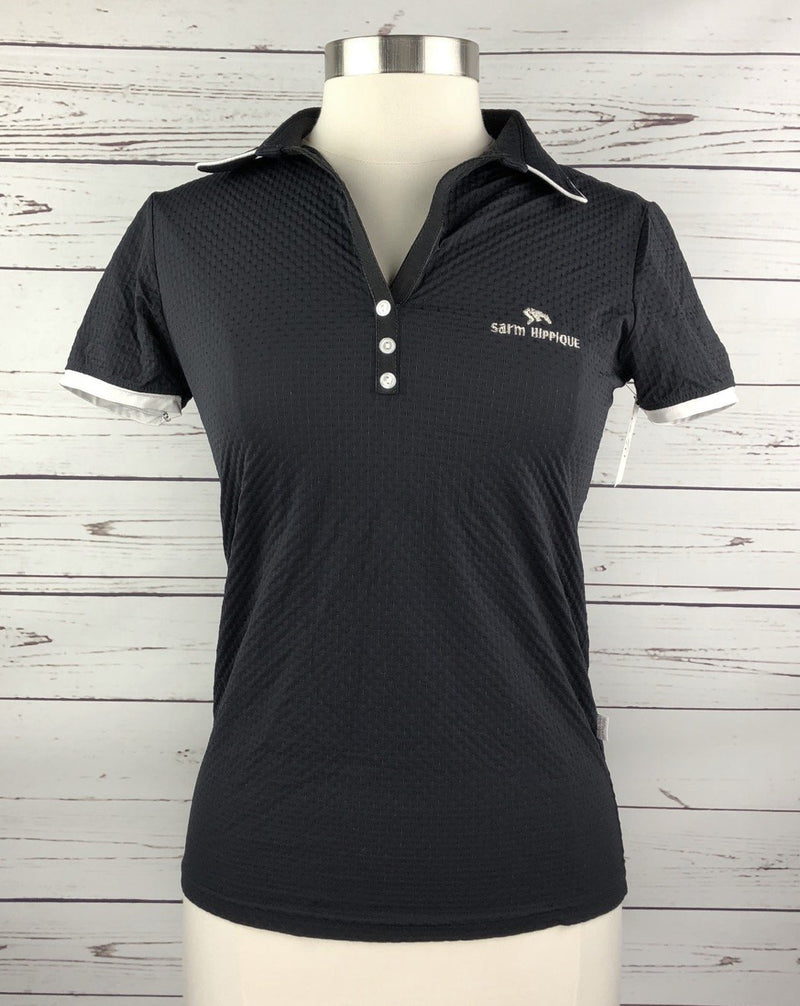 Sarm Hippique Unica Polo in Black/White - Women's Large