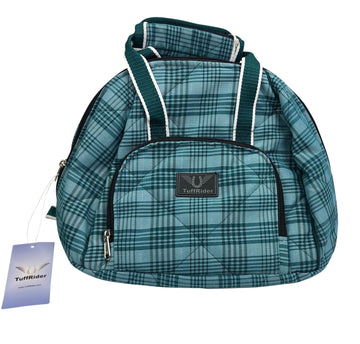 Tuffrider Bonum Helmet Bag in Teal Plaid