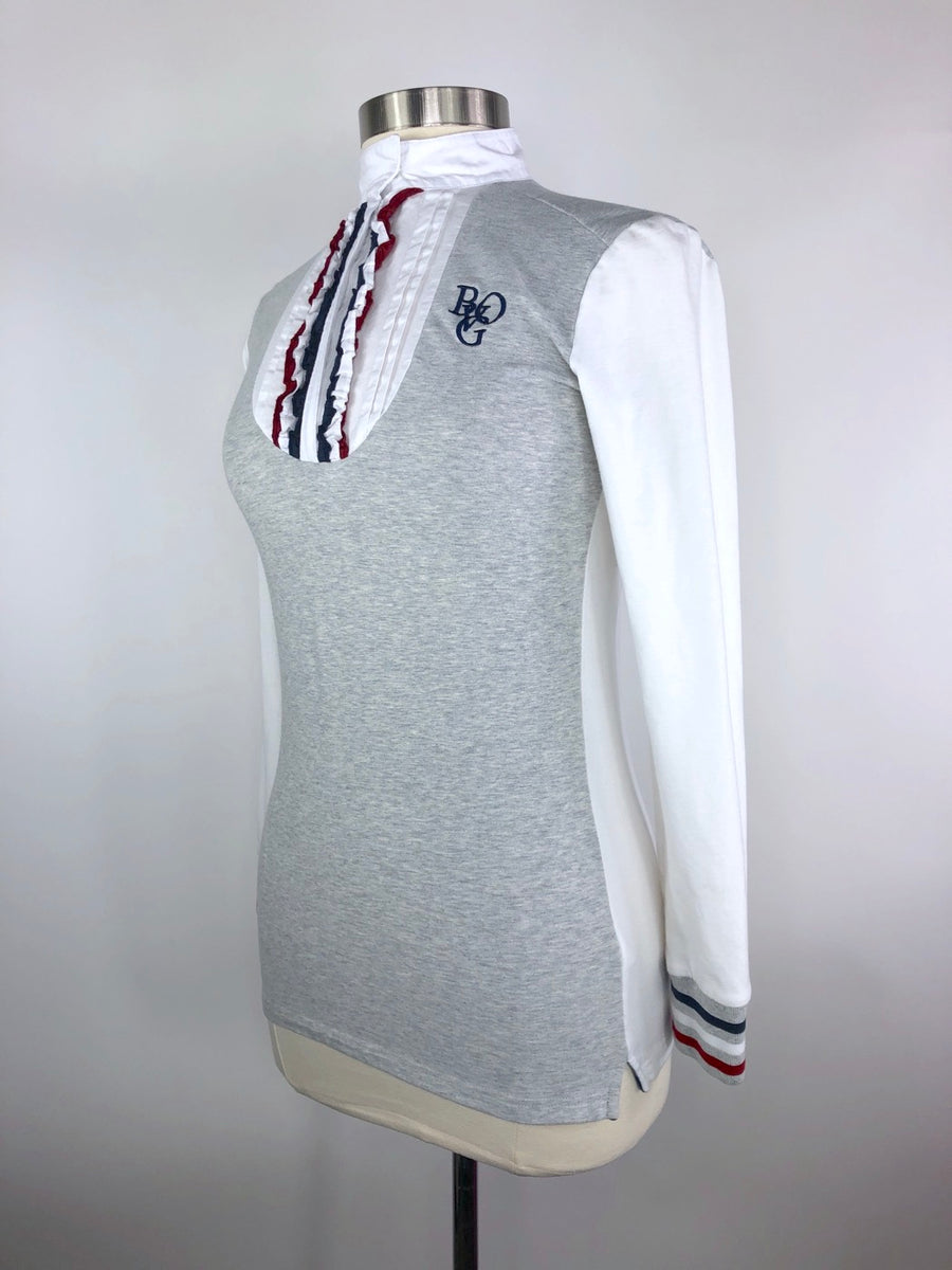 B Vertigo Cassie WInter Competition Shirt in Grey/Red/Navy- Left Side View