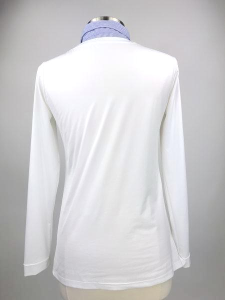 Callidae Practice Shirt in White/French Blue Stripe -  Back View