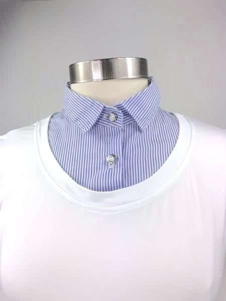 Callidae Practice Shirt in White/French Blue Stripe -  Collar View