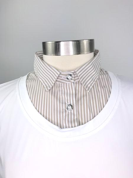 Callidae Practice Shirt in White/Sand Stripe -  Collar View