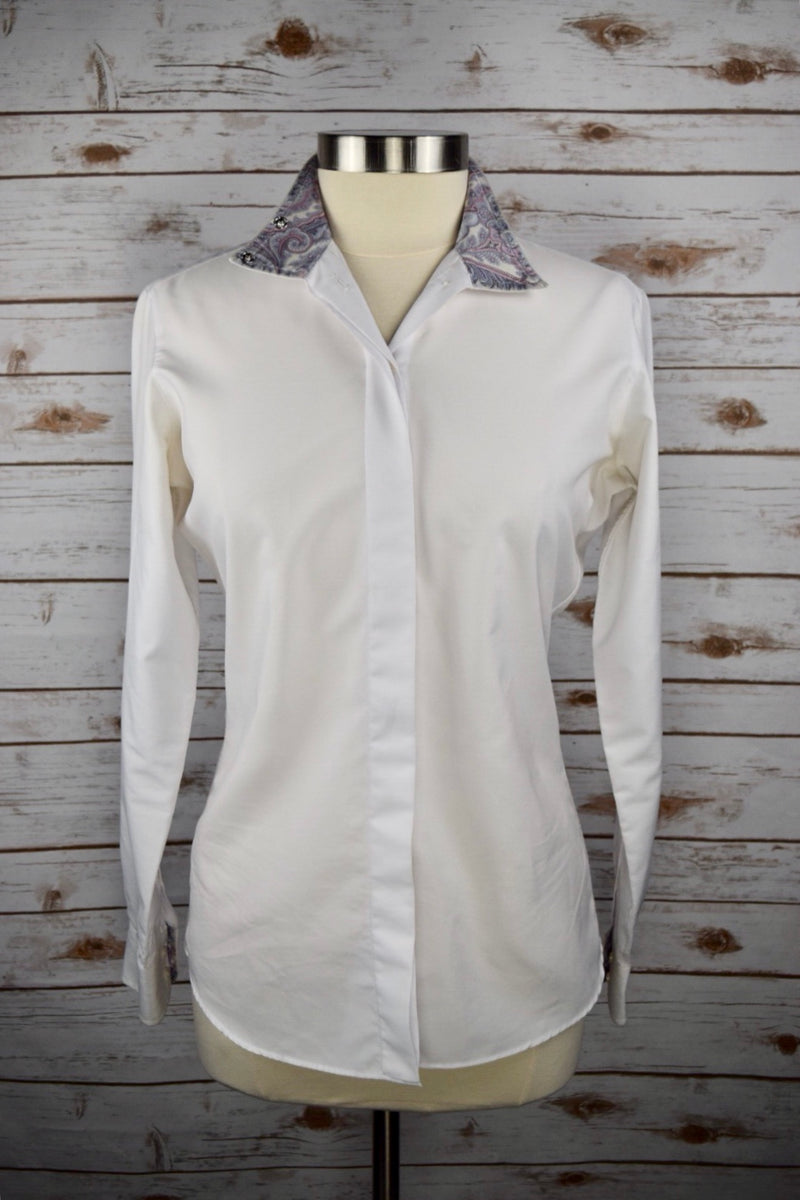 Essex Classics Coolmax Wrap Collar Show Shirt in White/Paisley - Women's 36