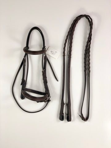 Edgewood Raised Padded Fancy Stitched Bridle w/Reins in Oiled Newmarket - Pony Size