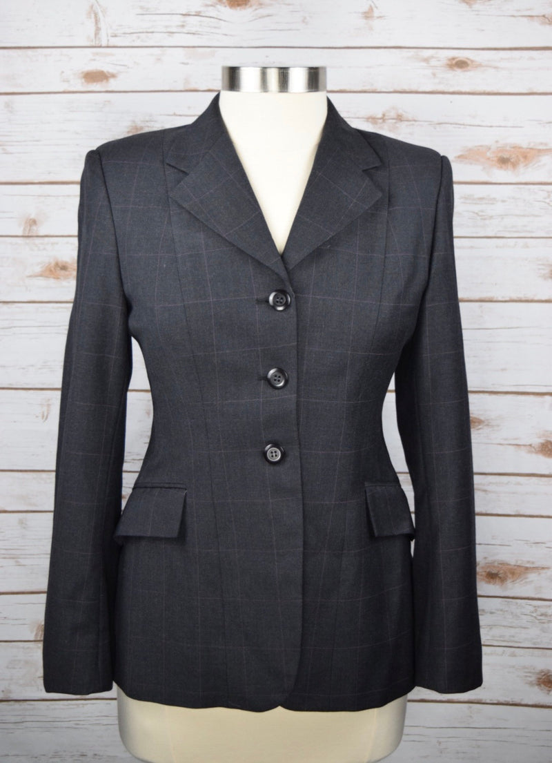 Grand Prix Hunt Coat in Charcoal/Pink Check - Women's 12R (US 6) Slim