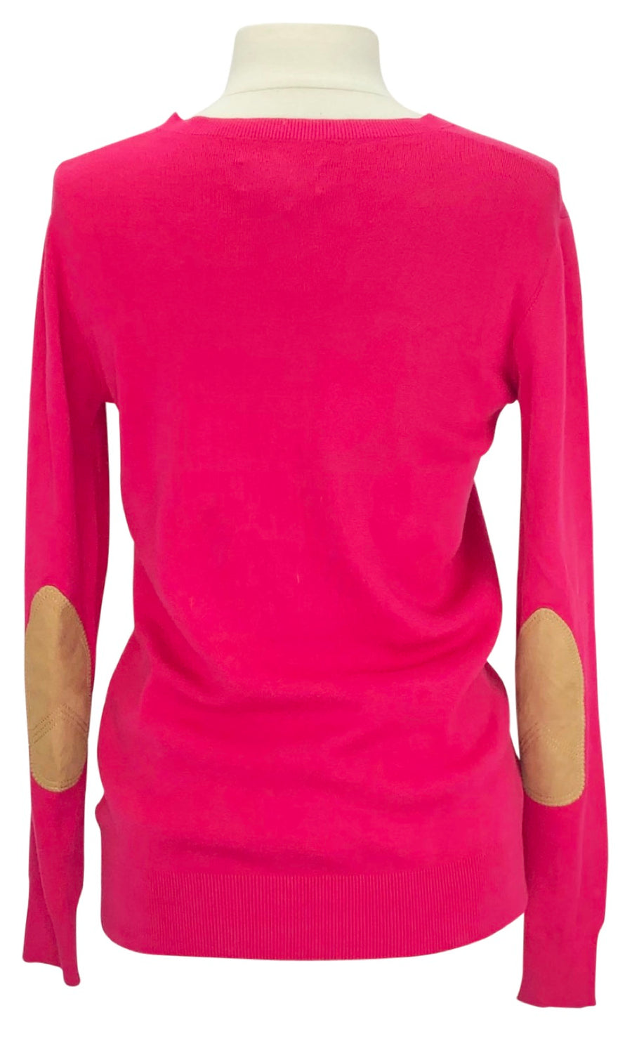 Back of B Vertigo Kate Ladies Sweater in Pink with vintage elbow patches