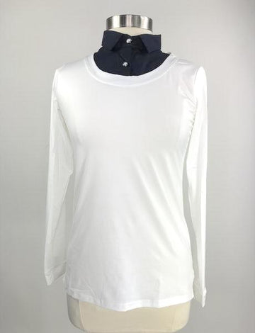 front view of Callidae Practice Shirt in White/Navy - Women's S