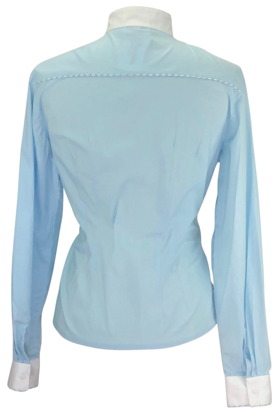 Back of Sarm Hippique Competition Shirt in Baby Blue