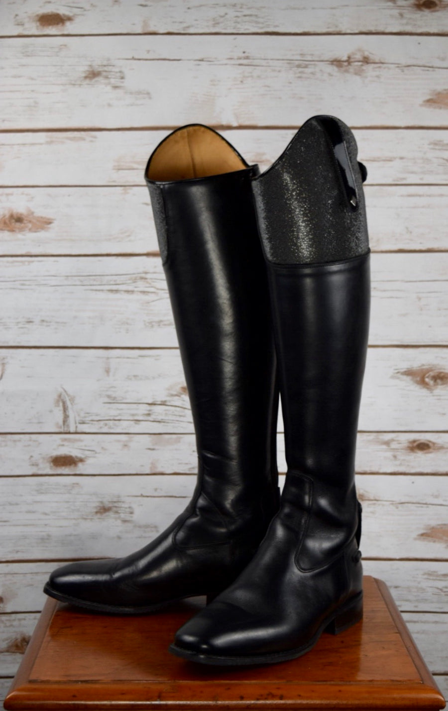 DeNiro S3501 Custom Micro Crystal Top Dress Boots in Black - Front View 3