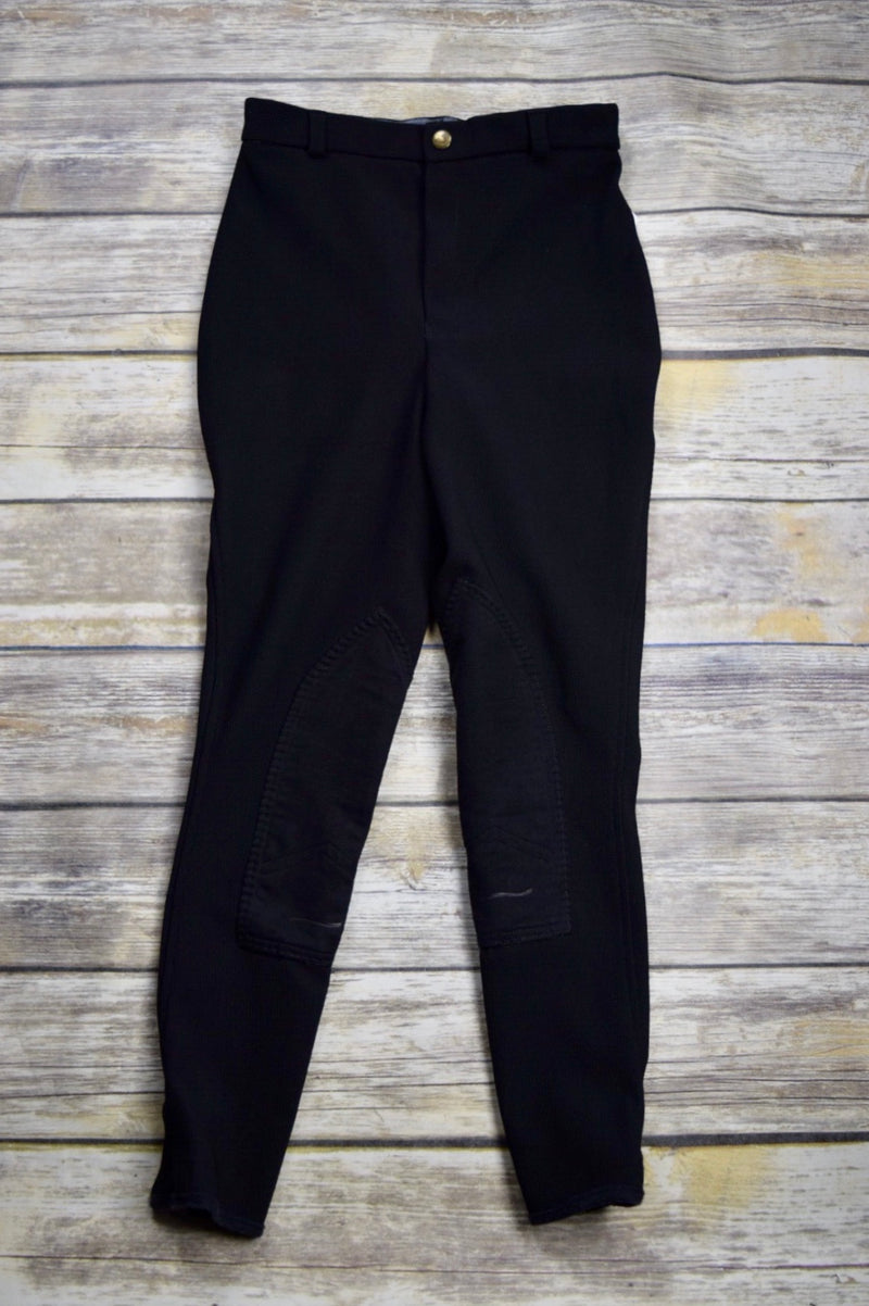 TuffRider Ribb Knee Patch Breeches in Black - Children's 12