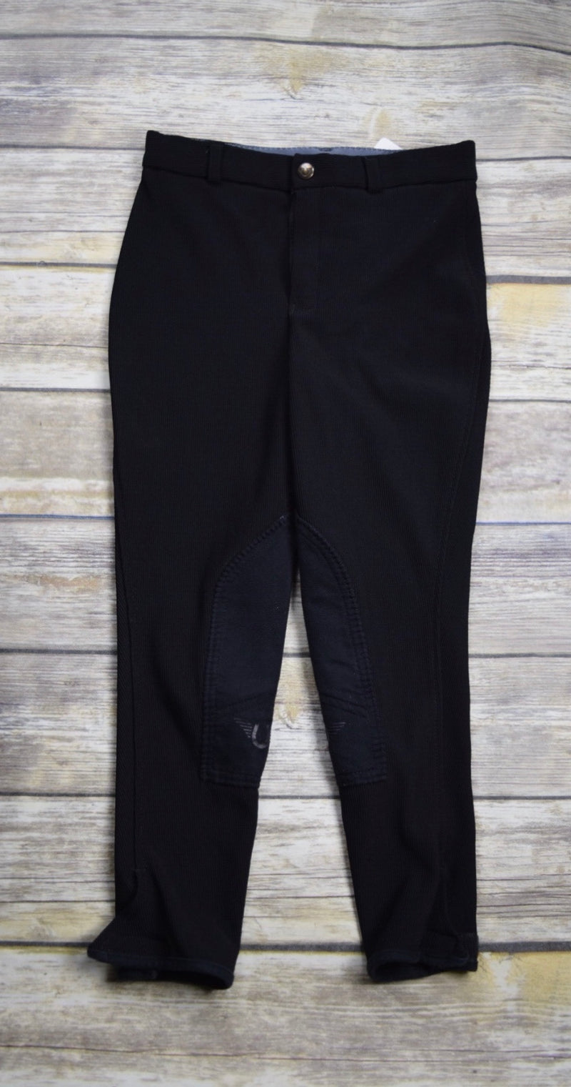 TuffRider Ribb Knee Patch Breeches in Black - Children's 10