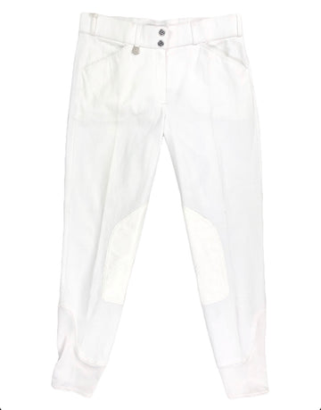 NWT Horze Grand Prix Extend Knee Patch Breeches in White - Women's L