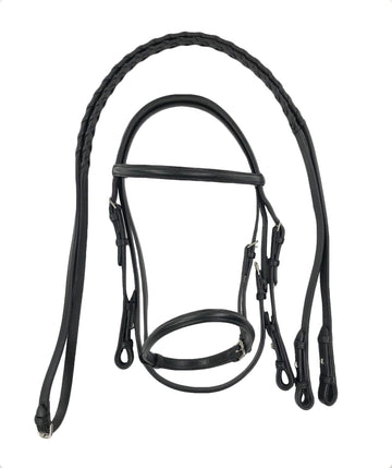 full overview of Bobby's English Tack Plain Raised Snaffle Bridle in Black - Pony Size