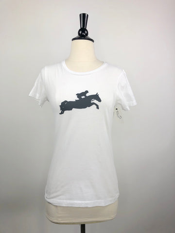 Gray & Bay Horse Co. Jumper Tee in White -  Front View