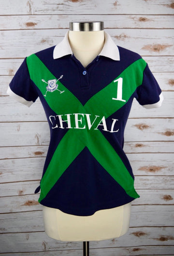 Cheval Polo in Navy/Green - Women's M