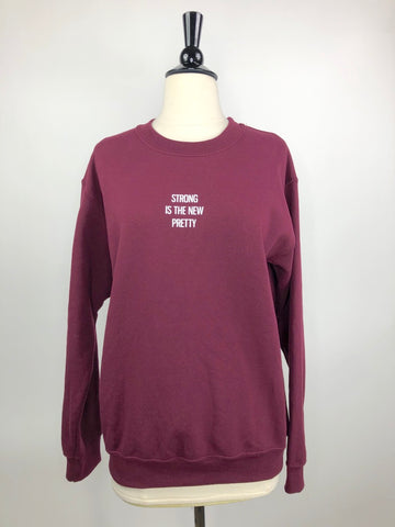 TKEQ Strong is the New Pretty Pullover in Cranberry - Adult Small
