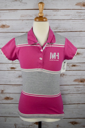 Mountain Horse Robin Pique Jr Polo in Pink Stripe - Children's 10 | M