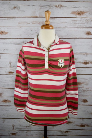 Goode Rider Rugby Polo in Pink/Brown Stripe - Front View