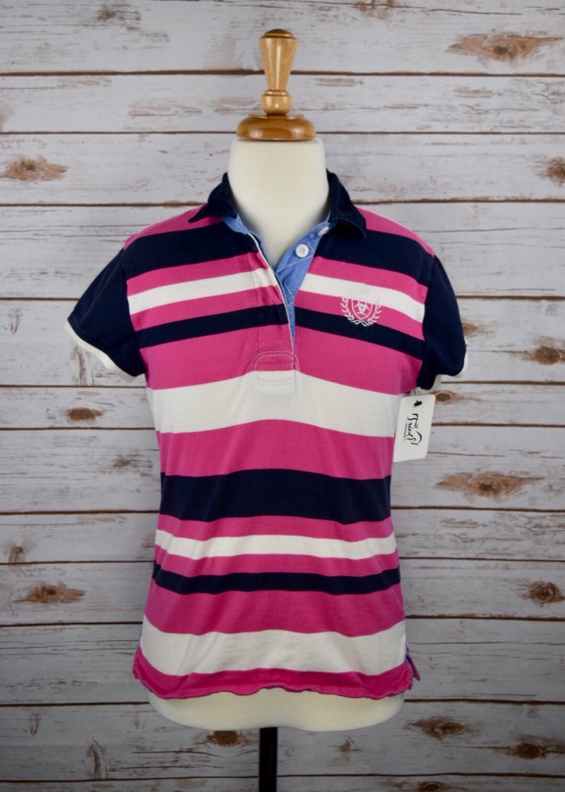 Ariat Eva Rugby Polo in Pink/Navy - Children's Large