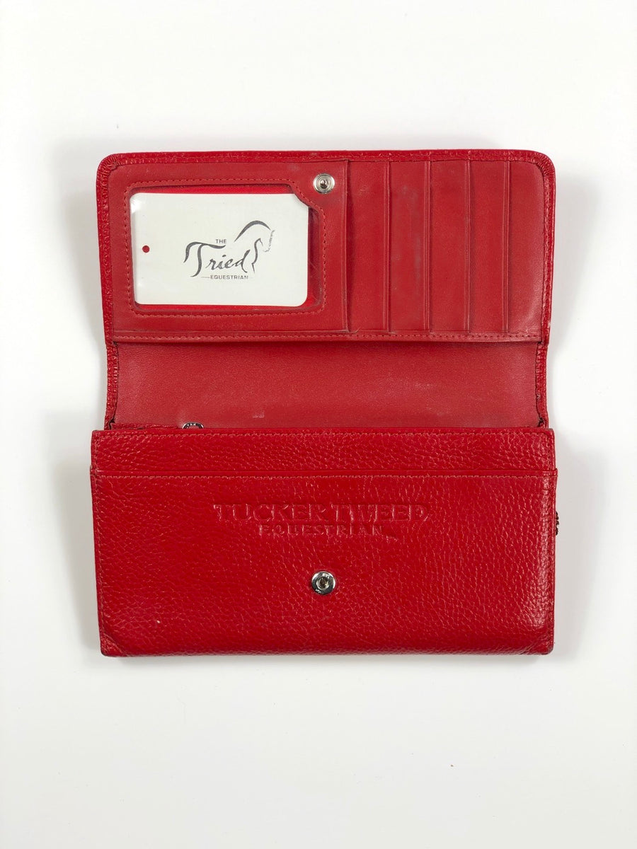 Tucker Tweed Equestrian Signature Logo Wallet in Scarlet - One Size