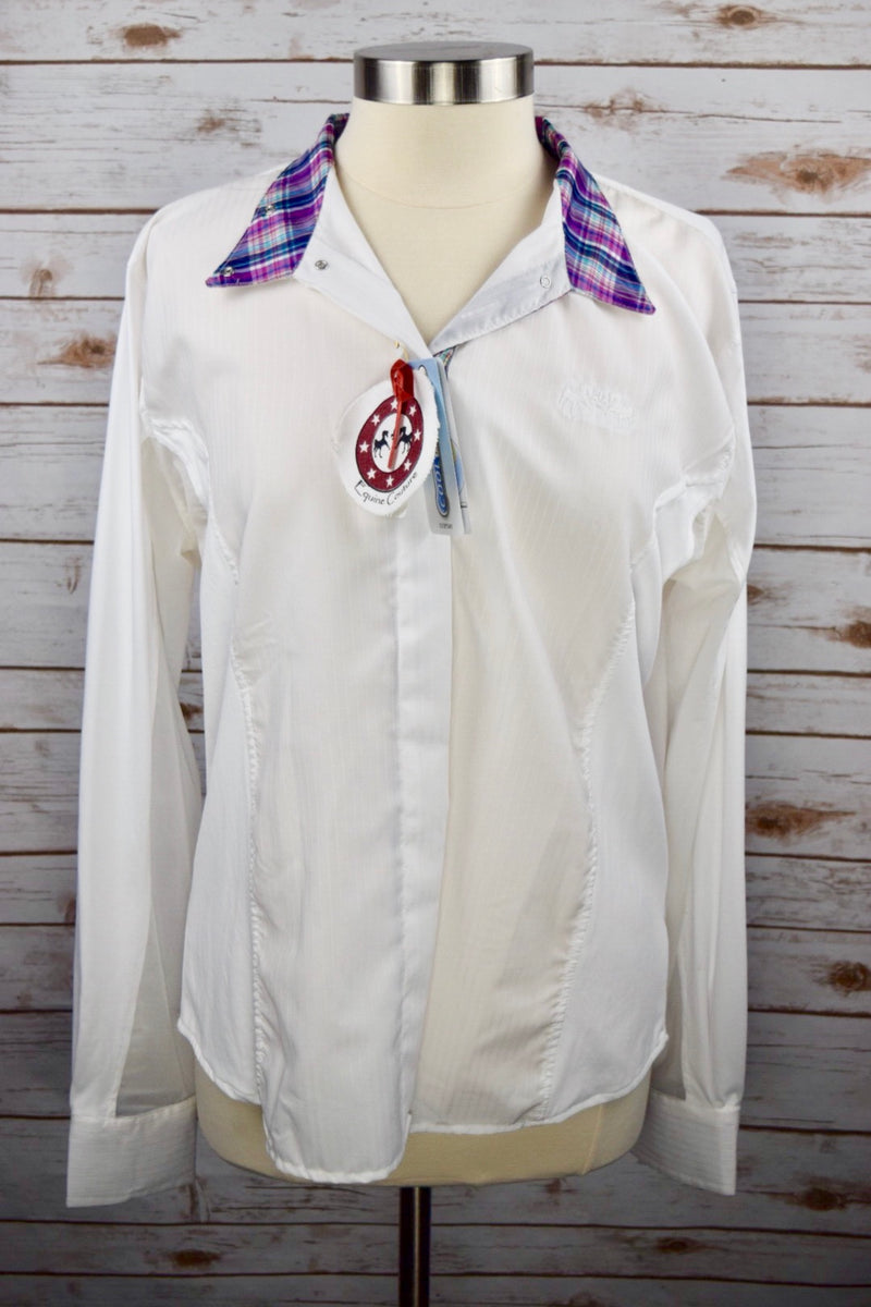 Equine Couture Amber Show Shirt in White/Plaid - Women's 38
