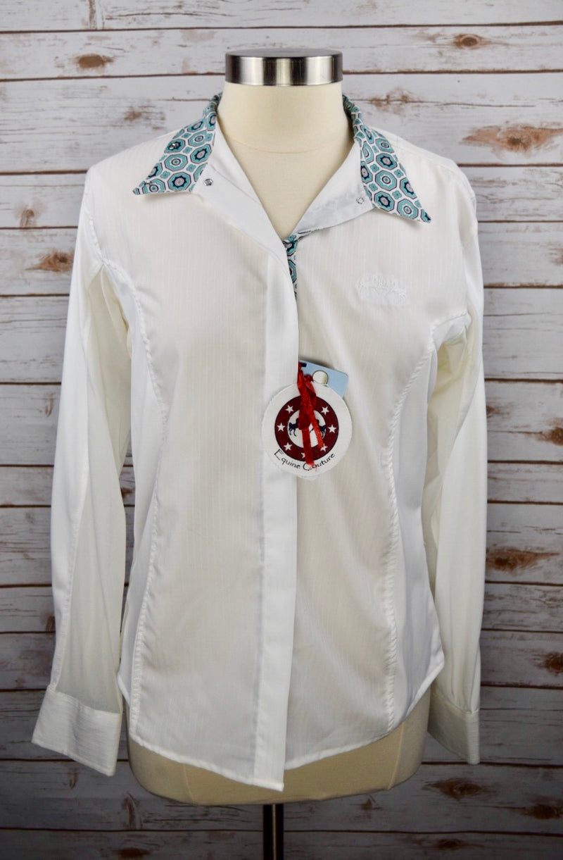 Equine Couture Kelsey Show Shirt in White/Aqua - Women's Large