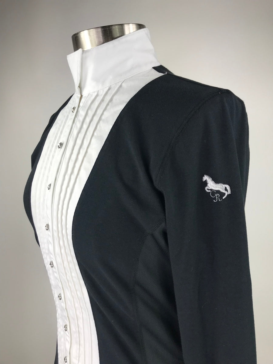 Goode Rider Prix Show Shirt in Black and White - Left Side View