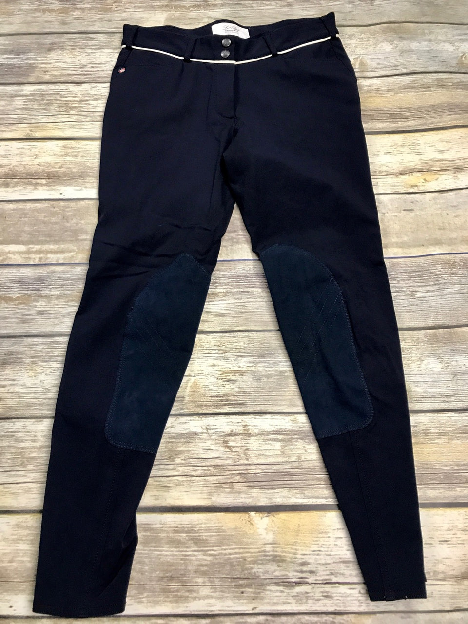 Lo Ride Breeches in Navy w/Cream Piping - Women's 28
