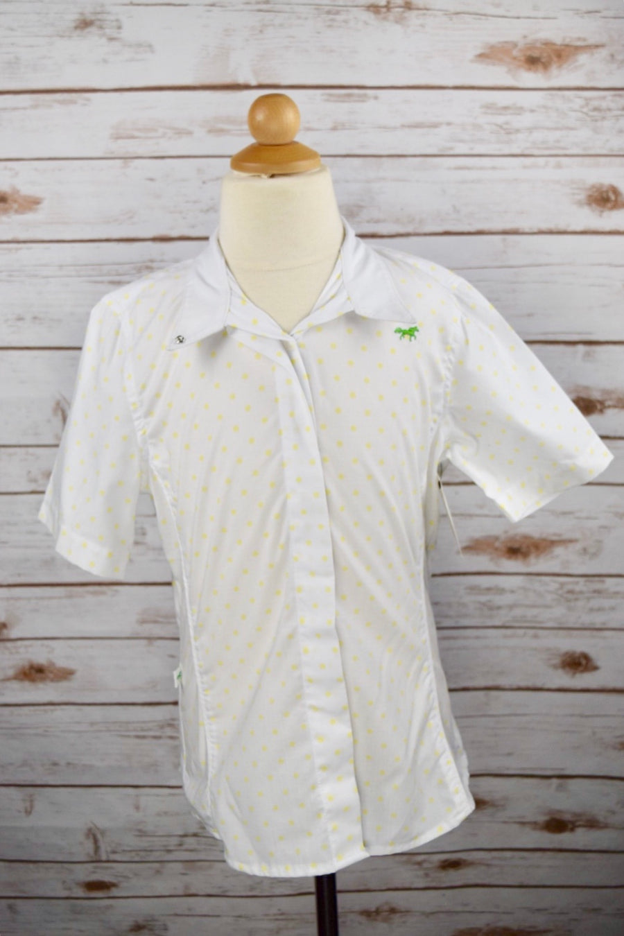 Clever Human Short Sleeve Show Shirt in White /Yellow Polka Dot -  Front View
