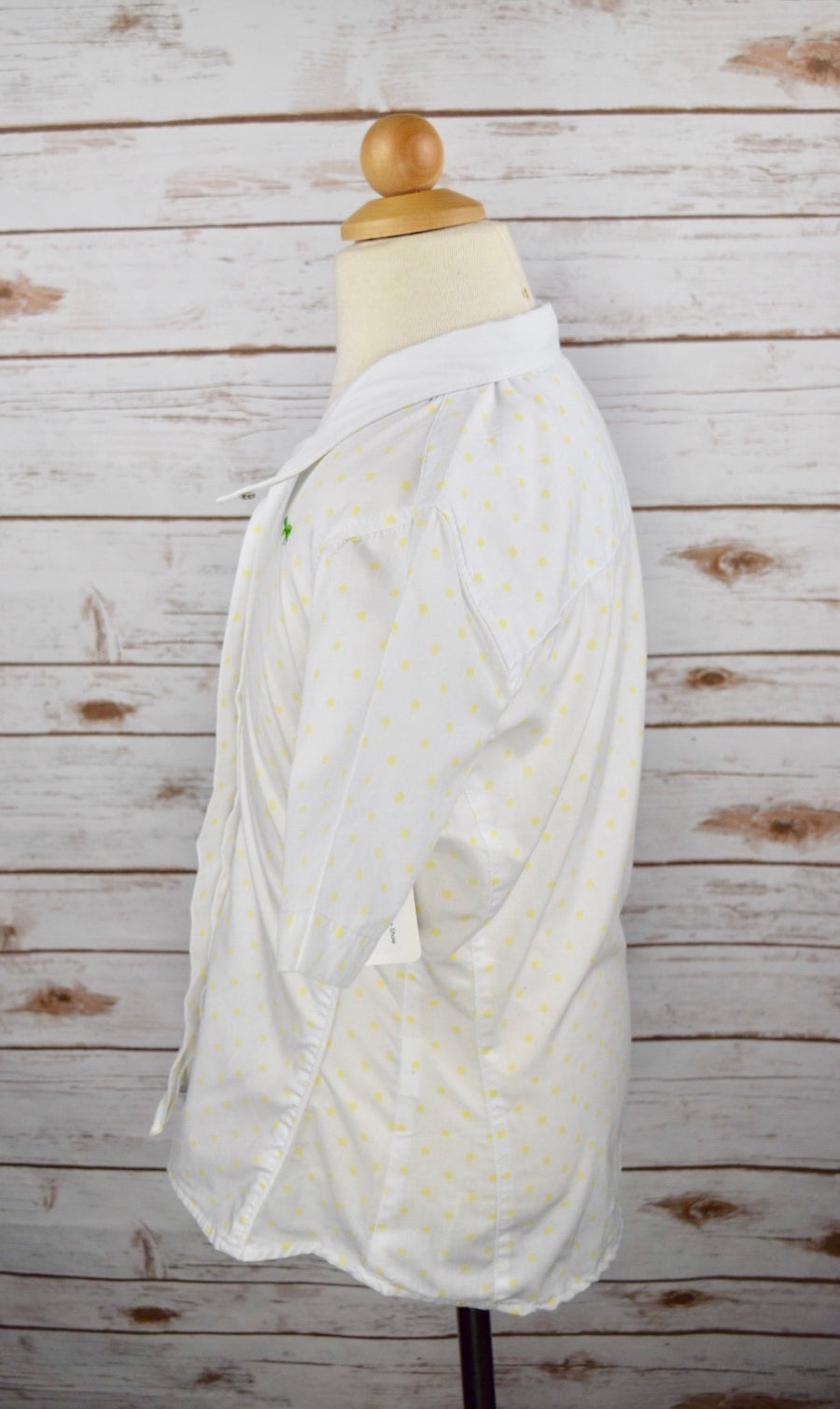 Clever Human Short Sleeve Show Shirt in White /Yellow Polka Dot -  Left Side View