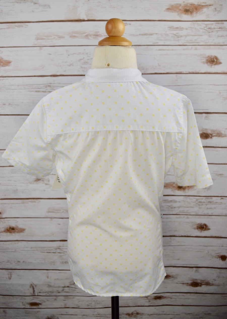 Clever Human Short Sleeve Show Shirt in White /Yellow Polka Dot -  Back View