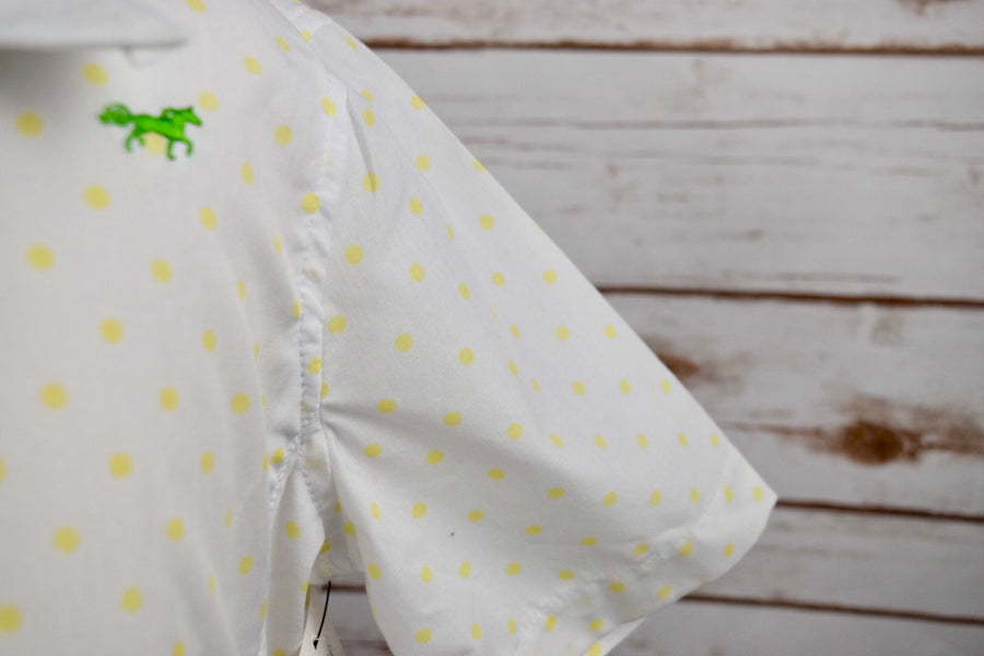 Clever Human Short Sleeve Show Shirt in White /Yellow Polka Dot -  Close Up Sleeve View