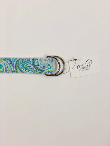 KLM Equestrian D Ring Belt in Blue/Green Paisley - Buckle View