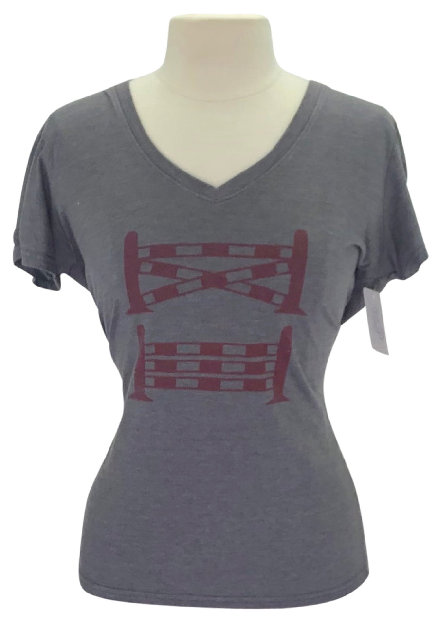 front view of Spiced Equestrian One Stride V-Neck in Pepper