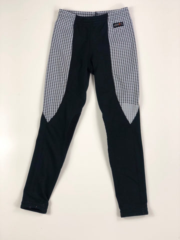 Kerrits Performance Riding Tights in Black/White Houndstooth -  Front View