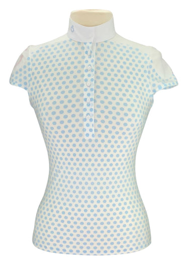 Cavalleria Toscana Short Sleeve Shirt in Blue Polka Dot