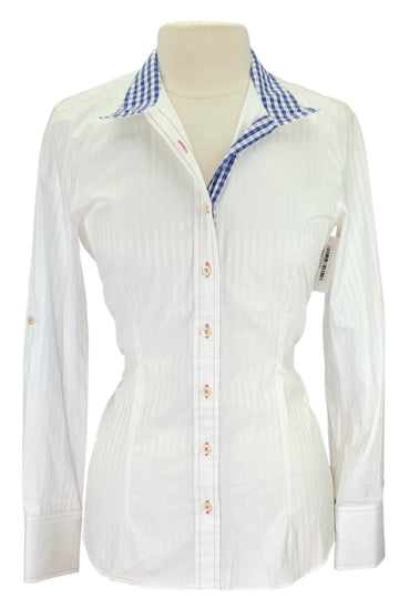 Cheval Show Shirt in White with navy plaid collar