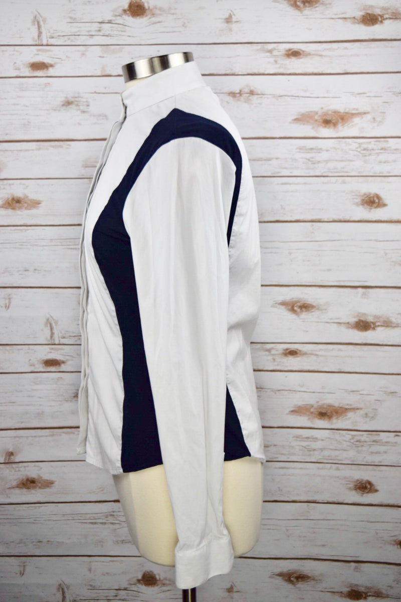 Cavalleria Toscana Show Shirt in White/Navy - Women's Large