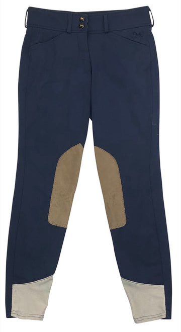 RJ Classics Harrisburg Front Zip Breeches in Navy with tan patches