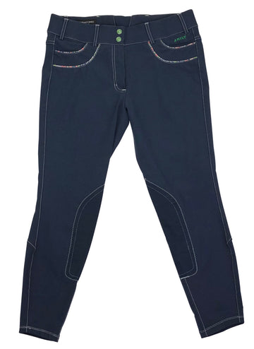 Ariat Olympia Acclaim Knee Patch Breeches in Navy and Floral Piping