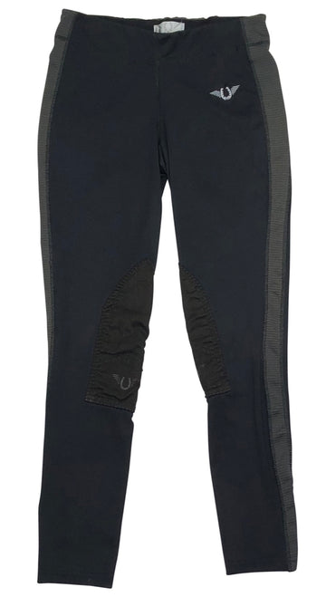 TuffRider Ventilated Schooling Riding Tights in Black and Grey