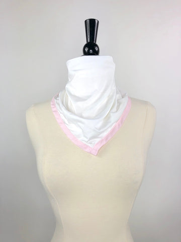 Callidae Hannah Neck Kerchief in White/Pink- Front View