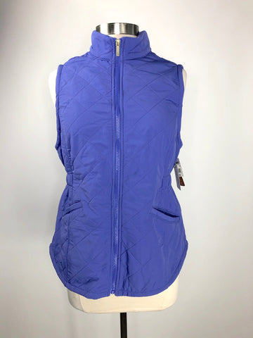 Bit & Bridle Solid Quilted Vest in Purple- Front View