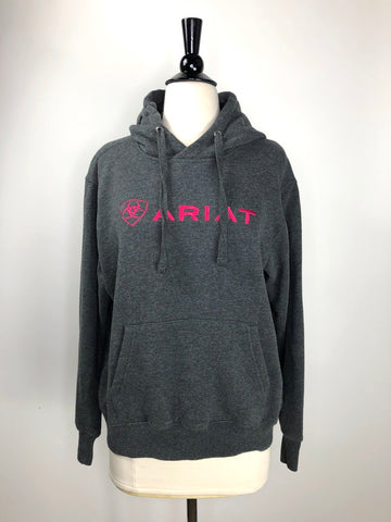 Ariat Logo Hoodie in Charcoal Grey- Front View