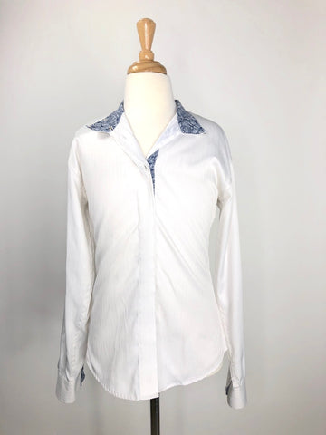 Royal Highness Equestrian Show Shirt in White/Navy Paisley - Children's 12 | M